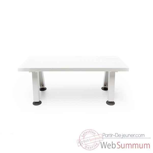 Banc marina cadre en acier laqu blanc plateau de table en fibre de verre b - Plateau de table blanc laque ...