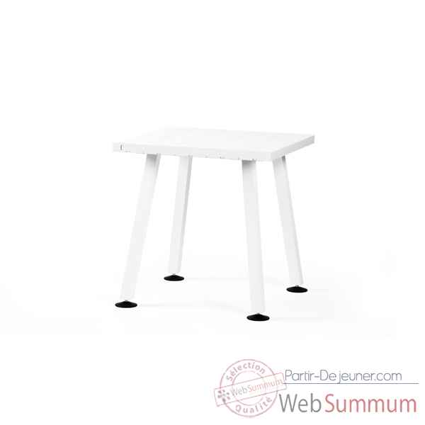 Table bar marina cadre en acier laqu blanc plateau de table en fibre de ve - Table mange debout blanc laque ...
